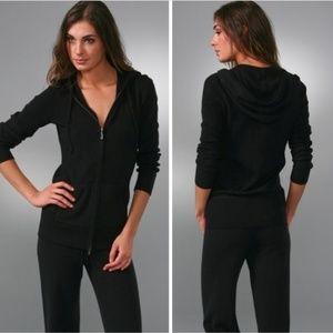 Juicy Couture Black Long Velour Zip Hoodie Medium